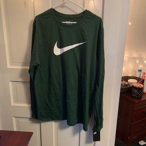 olive green nike long sleeve tee t-shirt